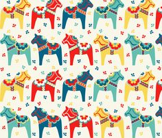 Swedish Dala Horses fabric by runningriverdesign on Spoonflower - custom fabric