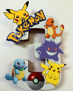 Pokemon birthday number centerpieces 8 inches tall made out of papier-mâché by angilee123 on Etsy