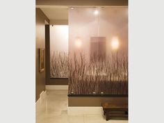 "Designers used ""3form"" Varia Ecoresin Organics pattern Birch Grove and a Chroma Ivory counter in this gorgeous bathroom Designer:GSBS Architects and Light Spot Design"