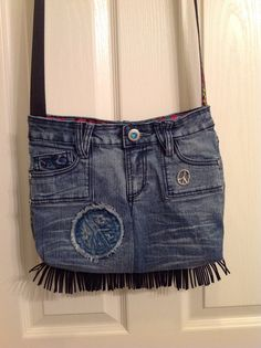Upcycled, Recycled, Repurposed Handmade Denim Peace Purse/Bag, Recycled Denim Purse