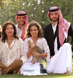 Queen Noor and 3 of her 4 children.