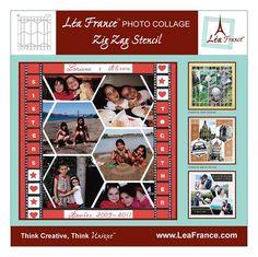 Lea France Photo Collage Stencil Zig Zag Template