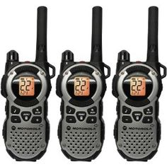 Motorola MT352TPR Giant FRS Weatherproof 2-Way radio with 35 Mile range, Twice the amount of battery life than compared to the standard NiMH rechargeable battery pack. VibraCall silent vibrating ringer for locations where ringing can be intrusive. Includes: 3 radios, 3 NiMH rechargeable battery packs, 3 belt clips, 1 Y cable wall adapter, 2 mini-USB connectors, 1 wall adaptor with a single mini-USB connector, 1 Emergency Preparedness checklist, 1 user guide, 1 accessories sheet. Silver…