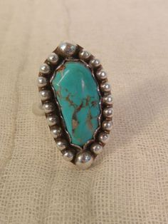 TURQUOISE STERLING RING SILVER BEADED ARTISAN HANDCRAFTED SIZE 9