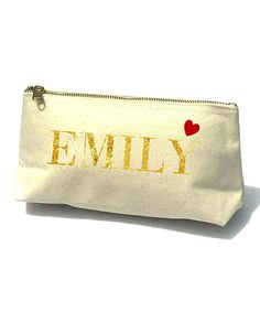 Gold Uppercase Heart Bella Personalized Cosmetic Bag