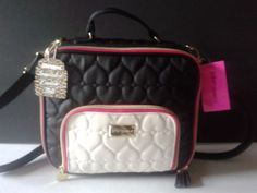 Betsey-Johnson-Spacious-Insulated-Hot-Cold-Messenger-Lunch-Tote-Black-Pink-White