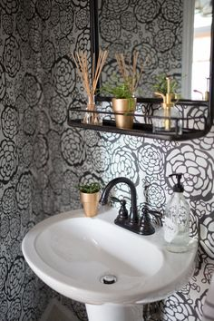 """""""I've always wanted a fun print in our powder room, so Glenn and I took a weekend (well, maybe two...) to install these removable wallpaper tiles from Hygge & West."""" #PowderRooms"""