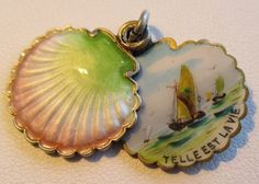 Antique French Silver Enamel Sea Shell Charm Slide Pendant Motto : Such is Life