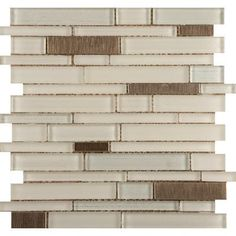 "Emser Tile Flash 12"" x 13"" Glass Linear Mosaic Tile in Beaming"