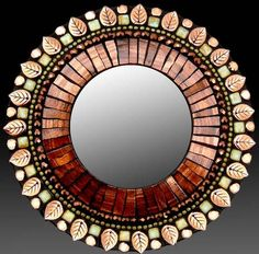 """Molten Sage"" Mirror by Zetamari Mosaic Artworks, featuring bronze Italian glass tiles"