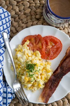 We're in the wonderful stage of summer when sweet corn and perfectly ripe tomatoes are taking over the markets. There are so many ways to take advantage of this, but my favorite is breakfast. If you haven't tried corn and eggs together yet, maybe this will entice you.