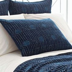 Pine Cone Hill Resist Dot Indigo Coverlet or Shams Blue And White Pillows, Bright Pillows, Plaid Bedding, Ruffle Bedding, Herringbone Tile Pattern, Bed Scarf, King Size Quilt, Stylish Beds, King Pillows