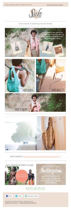 Leather hobo bags & wallets - Sseko Newsletter ideas. Fashion ecommerce newsletter - good email marketing example #email #design #newsletter #emaildesign #newsletterdesign #inspiration #fashion #sseko