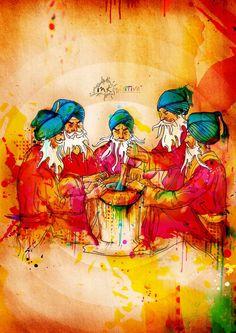 Panj Pyare Sahibaan Ji | Inkquisitive Illustration Guru Nanak Wallpaper, Guru Gobind Singh, Exotic Art, Cute Girl Drawing, People Illustration, Illustrations, Gods And Goddesses, Design Art, Cool Art