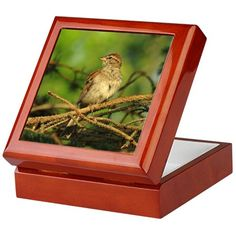Red capped sparrow Keepsake Box on CafePress.com