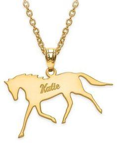 Script Name Polished Horse Pendant Necklace