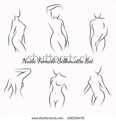 Nude female silhouette woman health logo and body care emblem. Vector illustration
