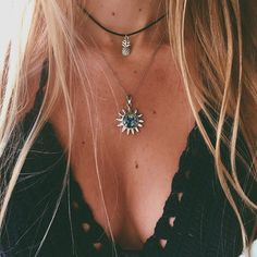 Black crochet bralette top & short layered necklaces - beach style vibes