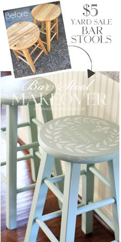 Yard Sale Bar Stools Painted in Inglenook by Fusion Mineral Paint…