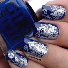 Royal Blue + Silver Nails