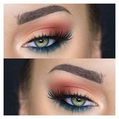 31 Pretty Eye Makeup Looks for Green Eyes ❤ liked on Polyvore featuring beauty products and makeup