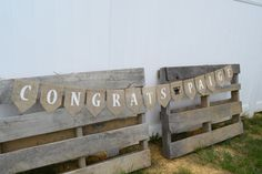 This personalized graduation burlap banner would add the perfect personal touch to a graduation party. Each pennant is treated to prevent
