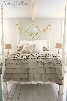 Christmas Tour - Master Bedroom 'Silent Night' Banner via @Brandi - Nest of Bliss