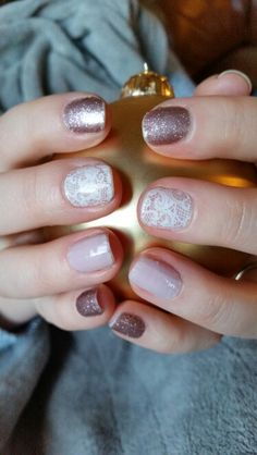 Love this Mani!  Rose Gold Sparkle, Daydream, and Leo, Geo, & Lace by Jamberry.  Pretty nails. Feminine nail art. Lace.