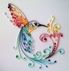 "Quilling Art: ""Bird of Happiness"" Colourful Paper Art, Wall Art and Deco from BestQuillings on Etsy. Arte Quilling, Quilling Paper Craft, Paper Crafting, Quilling Work, Quilled Paper Art, Paper Quilling Designs, Quilling Ideas, Quilling Images, Diy And Crafts"