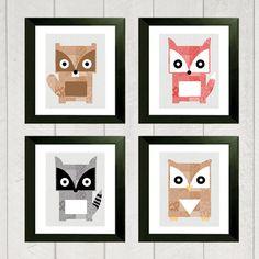 Woodland Nursery Art Print Set of 4  (Beaver, Fox, Owl and Raccoon). Each 5 x 7. By Danielle Hartman - Etsy