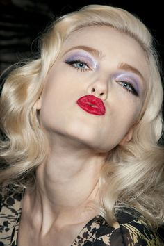 make up, lilac, red, fashion. hair, waves