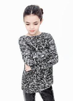 ZARA Kids - Lookbook December  Cableknit sweater & sequin leggings.