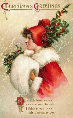 Victorian Christmas Cards | Christmas Children with Holly Vintage Victorian Christmas Card