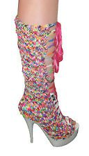 CHELISE TOPSHOP RAINBOW LOOM BAND DRESS BOOTS STILETTO PLATFORMS 5 38 OOAK
