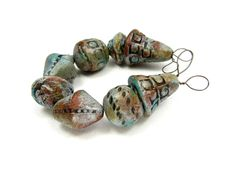 Patina Silver Pewter Ceramic Art Beads - Artisan Clay Beads No. 30 - pinned by pin4etsy.com