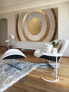 Mirror Decor Living Room, Home Decor Bedroom, Room Decor, Diy Canvas Art, Diy Wall Art, Home Room Design, Home Interior Design, Bild Gold, Hot Glue Art