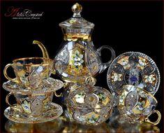 "Bohemia Crystal Tea sets - ""Shaherezada"" Gold New! Bohemia Crystal, Bohemia Glass, Bone China Dinnerware, Buy Tea, Crystal Glassware, Tea Pot Set, Tea Service, Coffee Set, Antique Glass"
