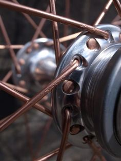 Copper plated spokes. Bicycle details!