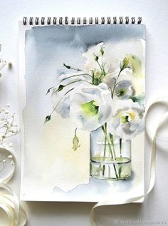 "Painting watercolor ""White eustomy"" – shop online on Livemaster with shipping"