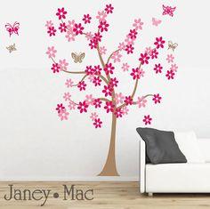 Children's Flower Tree Wall Decal with Butterflies - Daisy Flowers - Kids Bedroom Nursery - Girl Wall Decor - CT103 - G
