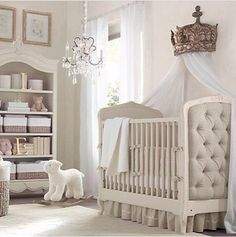 Cream & beige nursery perfect for a little prince charming. It's lovely but I feel the need to add subtle hints of color