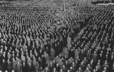 """Roll call for newly arrived prisoners, mostly Jews arrested during Kristallnacht (the """"Night of Broken Glass""""), at the Buchenwald Concentration Camp. Buchenwald Concentration Camp, London Bombings, Vietnam War, World War Ii, Wwii, Image Search, Forget, Broken Glass, Crystals"""
