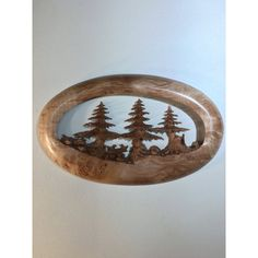 Pine Tree wood carving wall hanging best ever wood Christmas present... ($365) ❤ liked on Polyvore featuring home, home decor, christmas home decor, wooden home decor and wood home decor
