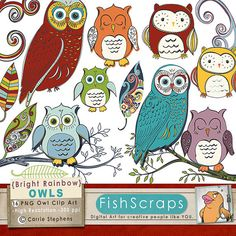 Bright Rainbow Owl Clip Art - Primary Color Owls - Digital Graphics - Small Business, Commercial Use Terms.