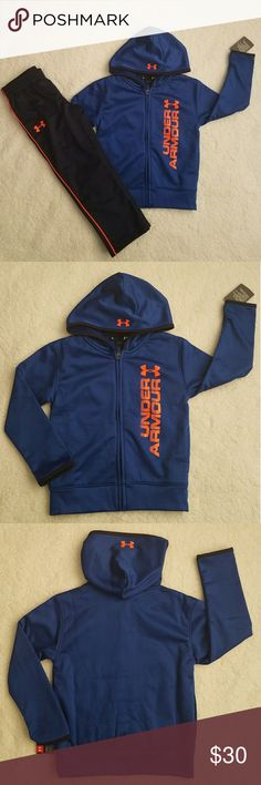Under Armour boys hoodie and track pant set Under Armour boys hoodie and track pant set  full zip jacket with side pockets, hood and fleece lining track pants with logo, no pockets, elastic waistband size 4 Royal Blue/Orange   NWT Under Armour Matching Sets