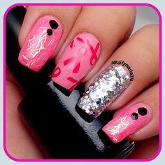 Breast Cancer Awareness by tymaria78  #nail #nails #nailart Gorgeous Nails, Love Nails, Fun Nails, Mani Pedi, Manicure And Pedicure, Nail Time, Fall Nail Art, Breast Cancer Awareness, Nailart