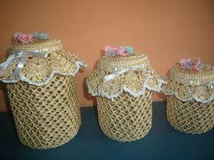Josy Art: Potes decorados com crochê