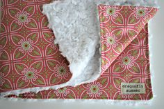 Minky Baby Girl Blanket: Pink, White, Lime Green and White Minky Swirl. $36.00, via Etsy.