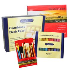 Wooden Combined Easel Desk and Art Set | Paint Pads at The Works