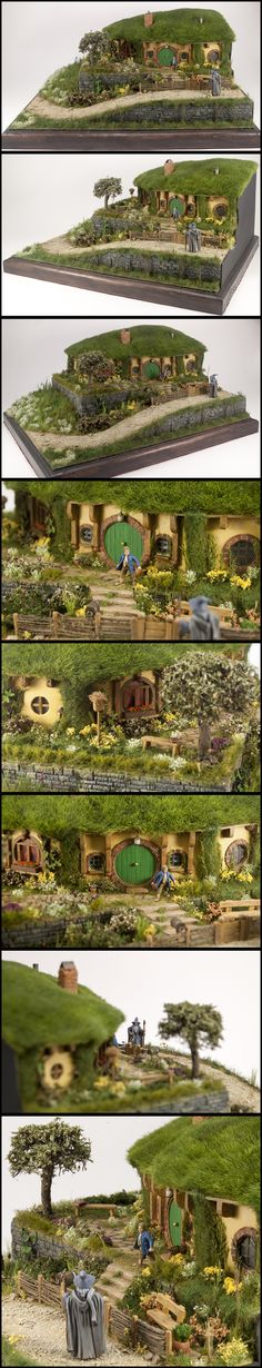 Diorama of Bag End inspired by The Lord of the Rings/The Hobbit trilogies. Mr. Baggins and Gandalf are from GW, Everything else was made from scratch.